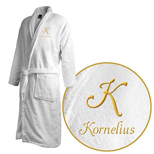 Bademantel mit Namen Kornelius bestickt - Initialien und Name als Monogramm-Stick - Größe wählen White