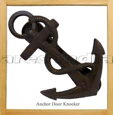 16.51 cm Eisen Antik Türklopfer, nautisches Motiv mit Anker Maritim