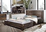 MASSIVMOEBEL24.DE Massivmöbel Palisander Holz massiv grau Bett 140x200 Massivholz Sheesham lackiert Möbel Metro Polis #135