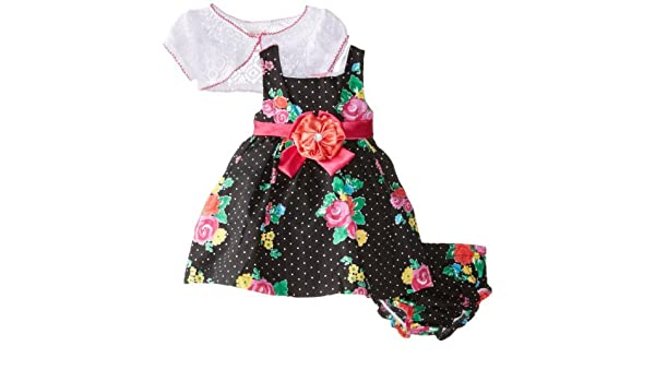 Nannette Baby-Girls Newborn 2 Piece Bow Dress Set