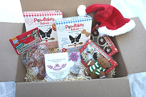 CHRISTMAS DOG TEA PARTY GIFT HAMPER WITH DOG TEA FESTIVE TREATS BAKING KITS HAT AND TOY