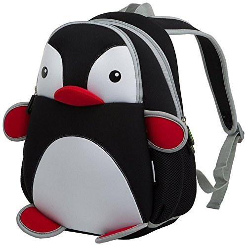 GreenForest bambini regalo Cute Toddler Zaini bambini zaino - piccolo pinguino Design Pack Black(13.4*9.1*4.7 inch) - Natale regalo per 3-8 anni