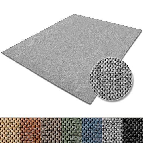 casa pura Teppich Sabang | viele Farben und Größen | Flachgewebe, Sisaloptik | Qualitätsprodukt aus Deutschland | GUT Siegel | für Wohnzimmer, Kinderzimmer, Flur etc. (Silber, 200x200cm)