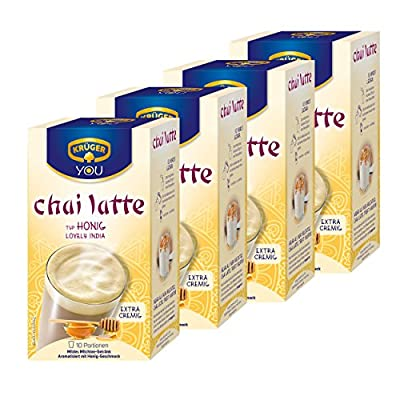 Krüger Chai Latte Lovely India, Honig-Geschmack, mildes Milchtee Getränk, 4er Pack, 4 x 10 Portionsbeutel