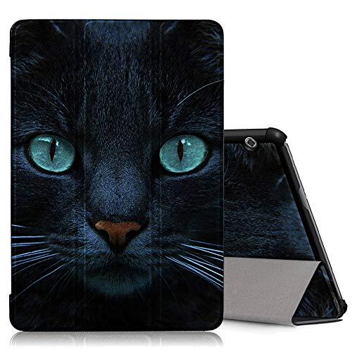 ZhuoFan Huawei Mediapad T5 10 Hülle, Schlanke Leicht Case Tasche Ständer Schutzhülle mit Muster Motive, Auto Schlaf/Wachen Cover für Huawei T5 10,1 Zoll Tablet, Katze