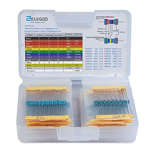 Elegoo 17 Values 1% Resistor Kit Assortment, 0 Ohm-1M Ohm (Pack of 525), Pin (0.022 inches, φ0.55mm)