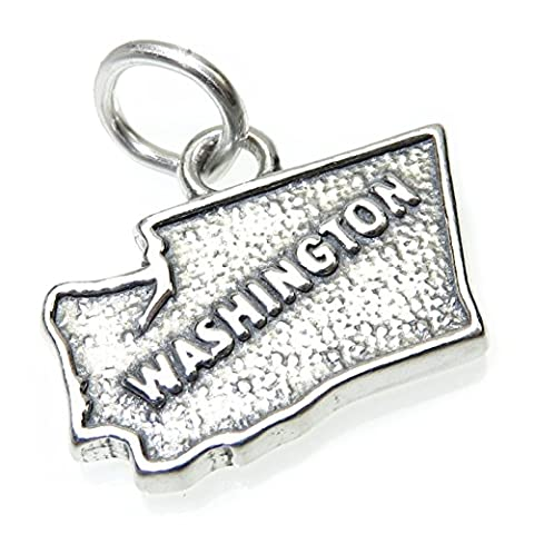 Washington map sterling silver charm .925 x1 USA States of America charms CF1-WA