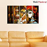 WallMantra Canvas Radha Krishna Indian Folk Art Wall Hanging Framed On Wood Painting (44x24-inch) - 5 Pieces