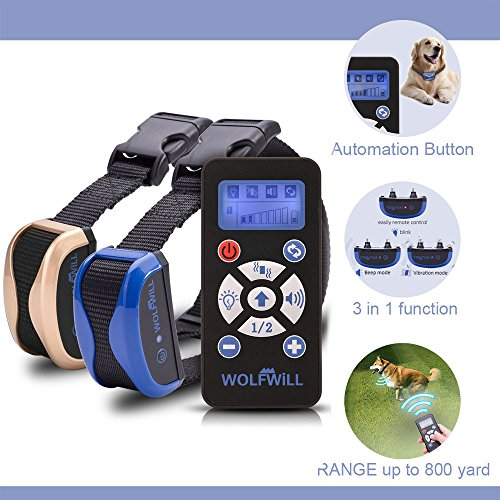 WOLFWILL Anti Bell Hunde Erziehungsband,Traininsband mit 2 Halsbände -