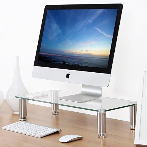 Klar Glas-schreibtisch (Fitueyes Monitorständer aus Glas 60x28x12cm klar DT106006GC)