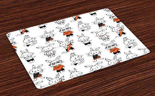ABAKUHAUS Komisch Platzmatten, Nette Retro Häschen-Kaninchen mit Kostümen Jack Hare Funky Bunnies Carrot Sketch Style, Tiscjdeco aus Farbfesten Stoff für das Esszimmer und Küch, Orange Weiß