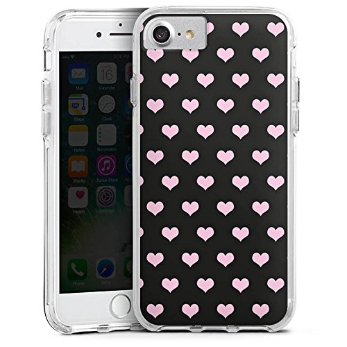 Apple iPhone X Bumper Hülle Bumper Case Glitzer Hülle Hearts Herzen Pink Bumper Case transparent