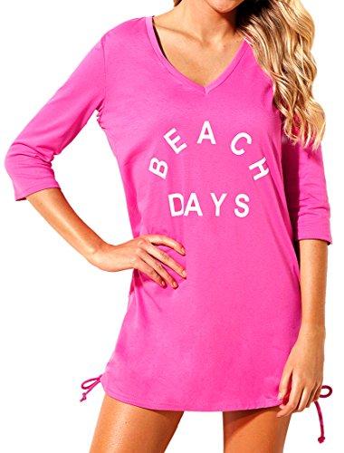 3 horses Damen Lockere Strand Tunika, Shirt - Beach Days, XL, Pink (Kleine Pool-stick)