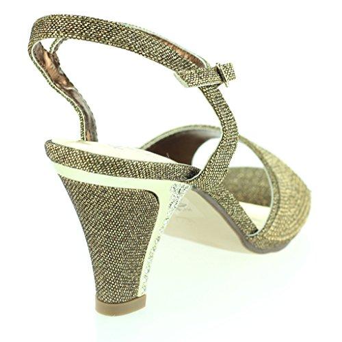 Femmes Dames Jeweled Kitten-Heel Pierres de Strass Clouté Diamante Soir Fête Mariage Bal de promo Des Sandales Chaussures Taille Marron