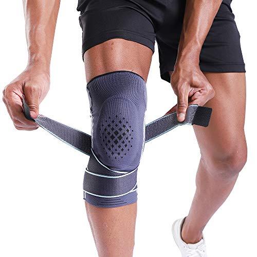 BERTER Kniebandage Knieschoner Starke Stützfunktion mit Silikon-Pad beim Sport fest ohne Rutsch Kniegelenkschutz Knieschmerzenlinderung für Damen und Herren (M)