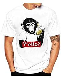 K-youth® Camiseta Hombre, Y'ello Mono Impresión Camiseta Para Hombre Tee Cuello Redondo Tops Camisetas Ropa Hombre Barata Deportiva 2018 Ofertas