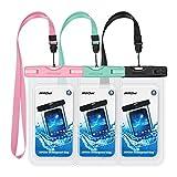 Mpow 3 Stück Wasserdichte Hülle Schutzhülle, Wasserfeste Handytasche für iPhoneX/ 8 Plus/ 8/6/6s/6sPlus/SE/5s/5/5c, Galaxy S8