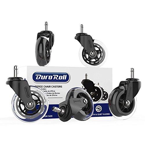 BuroRoll Bürostuhlrollen 11mm - Premium Qualität - Sehr weiche und leise Hartbodenrollen - Standard Steckstift geeignet für die meisten Drehstuhlrahmen - Schwarz - 5er Set