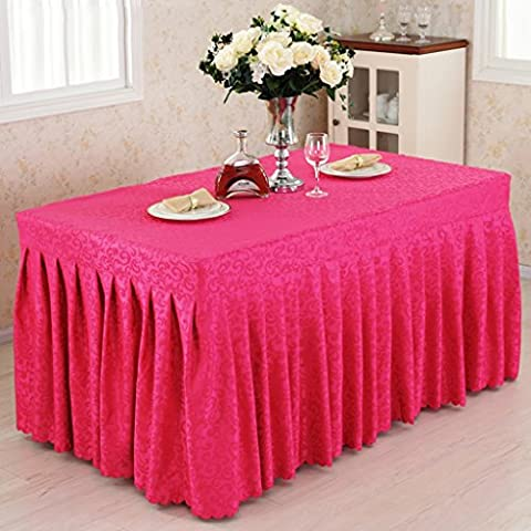 *linge de cuisine Fitted Table Skirt Cover Wedding Banquet With Top Topper Nappe - Rose Red Hook Flowers ( Couleur : Rose red , taille : 60*160*75CM )
