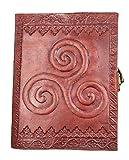 Kooly Zen - Carnet, bloc notes, journal, livre, cuir véritable, vintage, fermoir métal, Triskel, 13cm X 17cm