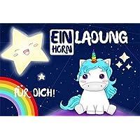 8-er Set Einhorn Einladungskarten zum Geburtstag für Mädchen | Geburtstagseinladung-en mit Regenbogen & Stern für Kinder mit süßen Motiv: Unicorn (Pferd)