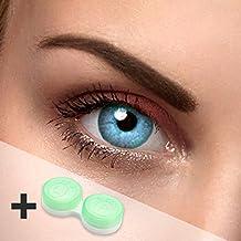 Farbige Kontaktlinsen blau (hellblau) - ohne Stärke - Sky blue - für helle & dunkle Augen - gratis Kontaktlinsenbehälter - zwei himmelsblaue Linsen