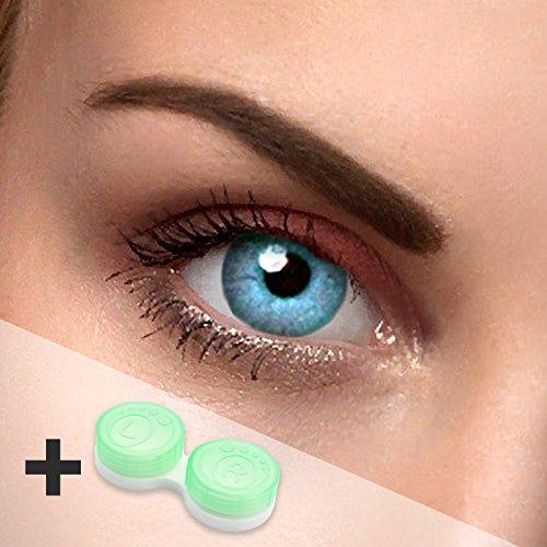 Farbige Kontaktlinsen blau (hellblau) - ohne Stärke - Sky blue - für helle & dunkle Augen - gratis Kontaktlinsenbehälter - perfekt für Halloween