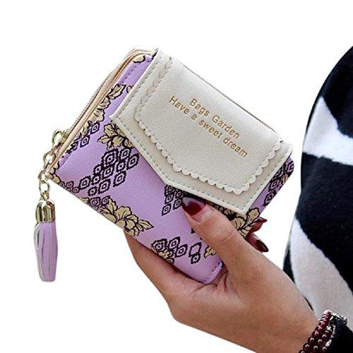 Kurze Geldbörse ACGE® Spitze Quaste Anhänger Portemonnaie Geldbörse (Violett) (Rechnungen Tasche)