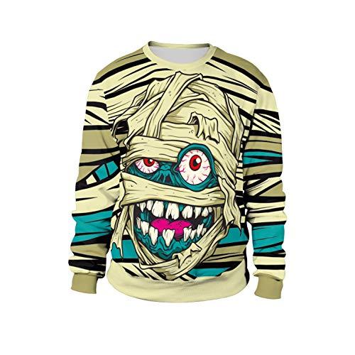 Simmia Sport Top Sweatshirts Pulli Langarmshirts Pullover für Damen,Herbst Mumie Print Pullover Stage Tour Street Halloween-Kostüm, XL (Leicht Mumie Kostüm)