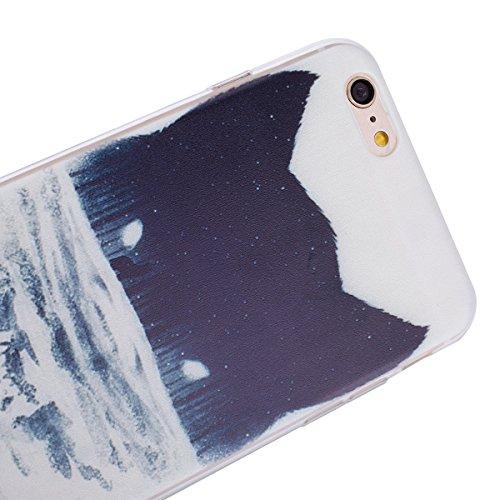 Apple iPhone 6s plus Soft Silicone Tpu Coque Mode,Transparent Coque pour iPhone 6 plus,Ekakashop Ultra Mince Jolie Ciel Forêt Design Souple imprimée Etui Housse de protection Cristal Clair Gel Case Pr Tête de Loup Colline