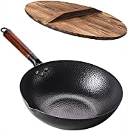 Carbon Steel Wok Pan - 32cm Woks and Stir Fry Pans with Lid, No Chemical Coated Wok Pan for Electric, Inductio