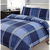 Velosso Single Bed Duvet/Quilt Cover Bedding Set Checkered Blue Bedding Hamilton Check