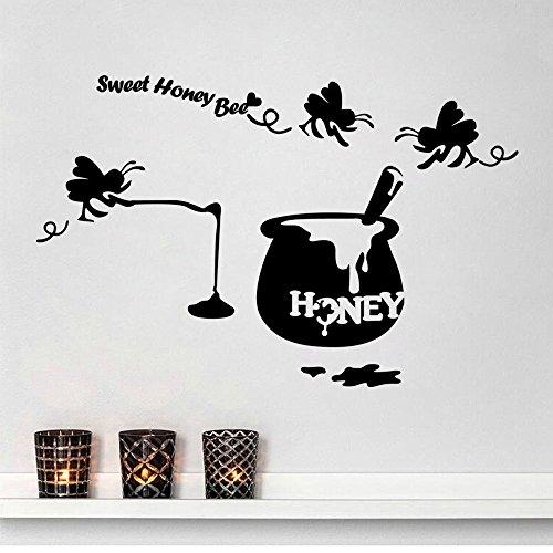(ALLDOLWEGE Yung Yuen Yee junge Mädchen Zimmer Karte Oberfläche Papier wand Klassenzimmer Korridor Anordnung zu entfernen können kleine Bienen lieben die Wand - 125 * 81 CM)