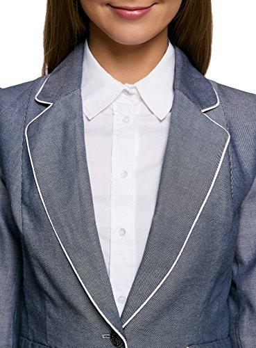 oodji Ultra Donna Blazer in Cotone con Finiture a Contrasto Blu (7910B)