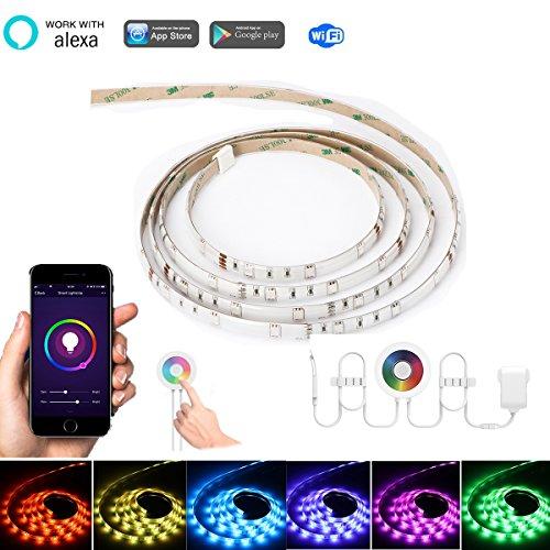 2m / 6.6ft RGB 120-LED WiFi Streifen Licht, Konesky Arbeit mit Alexa / Google Smart Flexible Seil Band Licht Touch / APP / Voice / Music Control Timer-Funktion für Android IOS