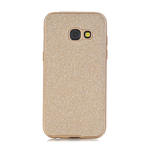 Galaxy A3 2017 Hülle, WindTeco Weich TPU Silikon Glitzer Schutzhülle Bling Handyhülle Protective Case Cover für Samsung Galaxy A3 (2017) A320 (4,7 Zoll), Gold