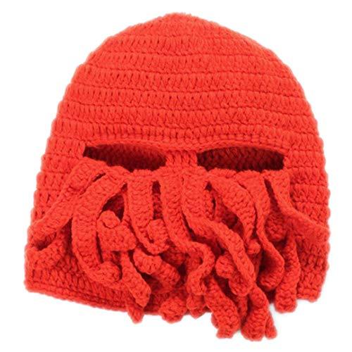 Unisex Octopus Beard Hut Maske handgemachte Gestrickte Wolle Vollgesichtsmaske Beanie Hüte Kopf Tragen Stirnband Orange