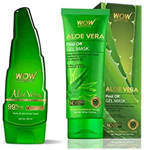 WOW Skin Science 99% Pure Aloe Vera Gel - Ultimate for Skin and Hair & Aloe Vera with Hyaluronic Acid & Pro Vitamin B5 Peel Off Gel Mask - No Parabens, Silicones & Color - 100 mL