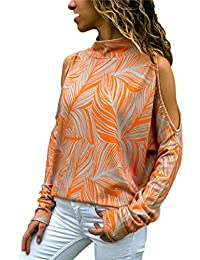 646c1abb26ba7 SHOBDW Mujeres Moda Primavera Otoño Frío Hombro Tallas Grandes Camisetas de  Manga Larga Cuello Alto Suelta