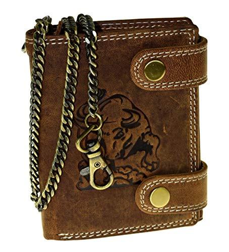 EL Torro Büffel Leder Geldbörse Portemonnaie mit RFID Schutz Brieftasche Herren Geldbeutel mit Kette
