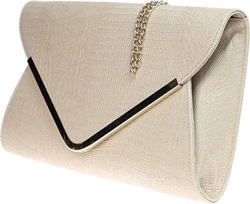 H&G Mesdames animaux Croc impression enveloppe plate soirée Clutch Bag - rouge Beige