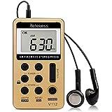Retekess V112 Mini Radio de Bolsillo Portátil AM FM Receptor Personal con Batería Recargable y Auricular (Roja)