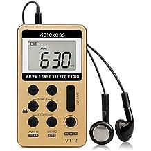 Retekess V112 Radio de Bolsillo AM / FM Mini Receptor Portátil con Batería Incorporada y Auriculares