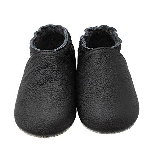 YangBaby Weicher Leder Lauflernschuhe Krabbelschuhe Babyschuhe Babyhausschuhe Schwarz Schwarz