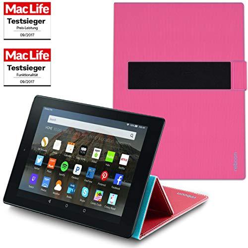 reboon Hülle für Amazon Fire HD 10 Tablet Tasche Cover Case Bumper | in Pink | Testsieger Hd-tasche