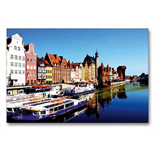 Calvendo Premium Textil-Leinwand 90 cm x 60 cm Quer Medieval Port Crane (polnisch: Zuraw Brama) ist Ein Stadttor aus Backstein und Holz | Wandbild, Bild auf Leinwand, Leinwanddruck Orte Orte (Port-polnisch)