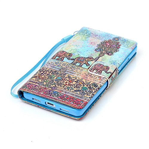 Meet de Huawei P8 Lite Bookstyle Étui Housse étui coque Case Cover smart flip cuir Case à rabat pour iPhone 4S Coque de protection Portefeuille - Never stop dreaming éléphant ethnique