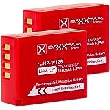 2x BAXXTAR PRO Batterie pour Fujifilm NP-W126 NP-W126s (1140mAh) pour FinePix HS50EXR HS30EXR HS33EX X100F X-T1 X-T2 X-T10 X-T20 X-Pro1 X-Pro2 X-E1 X-E2 X-ES2 X-A1 X-A2 X-A3 X-A10 X-M1