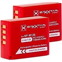 2x Baxxtar PRO batería para Fujifilm NP-W126 NP-W126s (de 1140mAh) compatible a FinePix HS30EXR HS33EX X100F X-A1 X-A2 X-A3 X-A5 X-A10 X-E1 X-E2 X-E3 X-ES2 X-H1 X-M1 X-Pro1 X-Pro2 X-T1 X-T2 X-T3 X-T10 X-T20