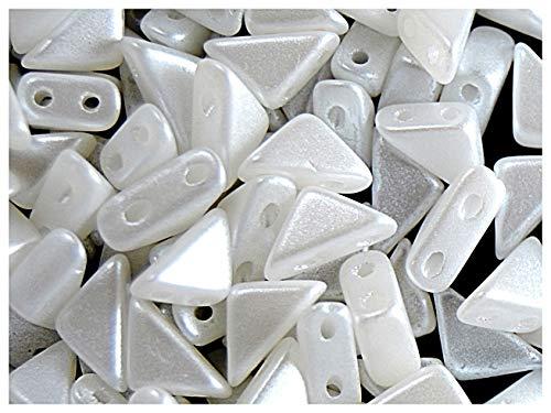 24pcs Tango Bead - Tschechische Gepresste Glasperlen in Form eines Dreiecks mit den Seiten 6x6x8mm, zwei Löcher, White Opal (Alabaster Pastel White) -